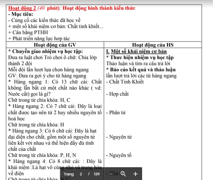 Giáo án hoá 9 PTNL, 5 hoạt động