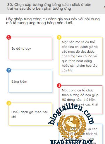 đáp án 30 câu trắc nghiệm modul 3 mĩ thuật