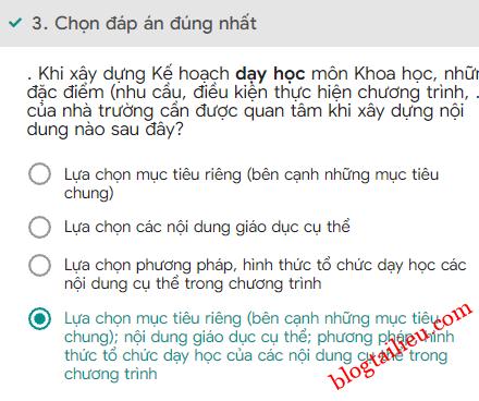 03Bai tap trac nghiem cuoi khoa Mo dun 4 Mon Khoa hoc Tieu hoc