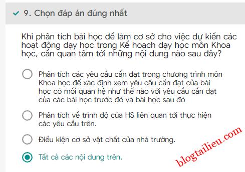 09Bai tap trac nghiem cuoi khoa Mo dun 4 Mon Khoa hoc Tieu hoc