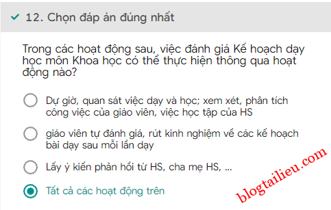 12Bai tap trac nghiem cuoi khoa Mo dun 4 Mon Khoa hoc Tieu hoc