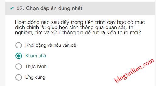 17Bai tap trac nghiem cuoi khoa Mo dun 4 Mon Khoa hoc Tieu hoc